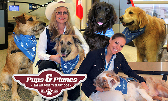 Pups and Planes - SAT Airport therapy dog